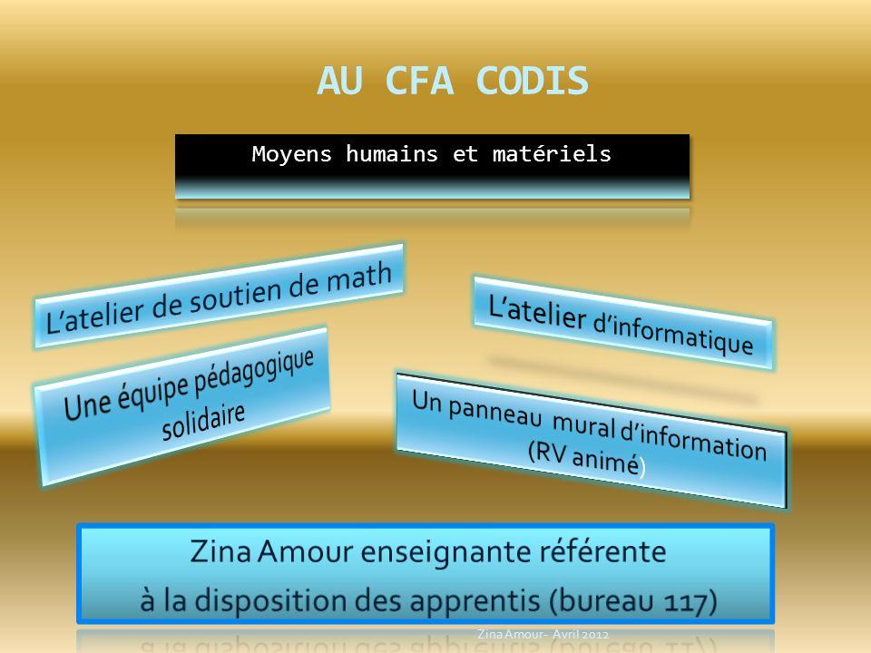 AU CFA CODIS L'atelier de soutien de math L'atelier d'informatique