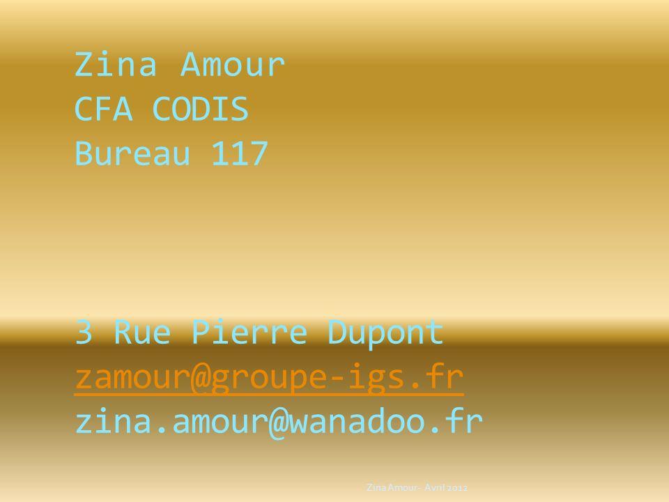 Zina Amour CFA CODIS Bureau 117 3 Rue Pierre Dupont zamour@groupe-igs
