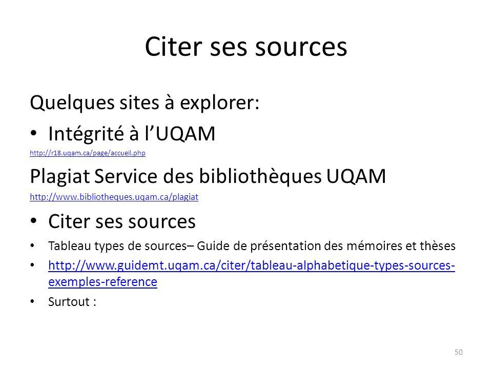 Citer ses sources Quelques sites à explorer: Intégrité à l'UQAM