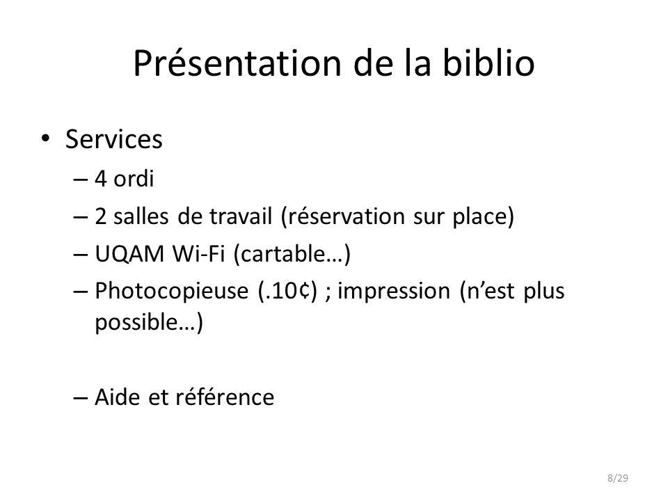 Présentation de la biblio