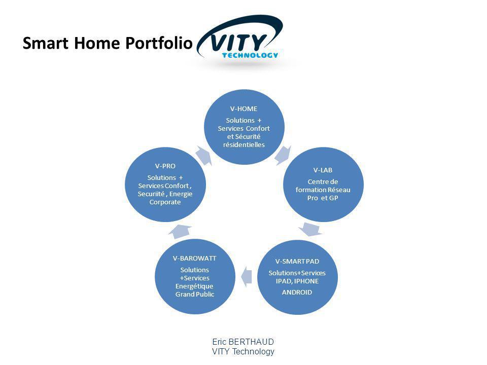 Smart Home Portfolio Solutions + Services Confort et Sécurité résidentielles. V-HOME. Centre de formation Réseau Pro et GP.