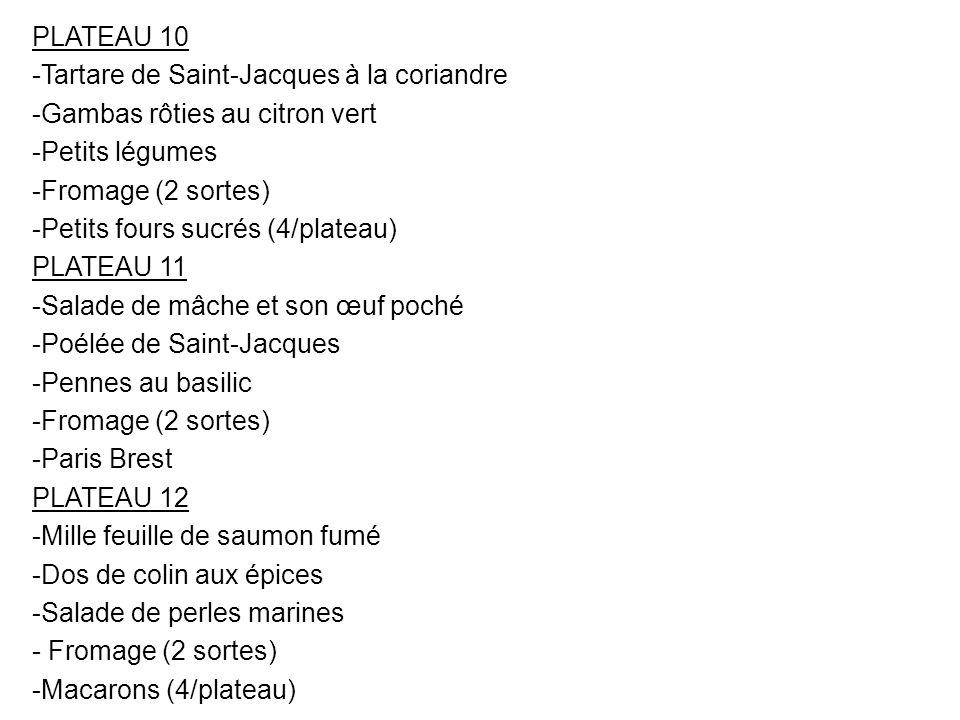 PLATEAU 10 Tartare de Saint-Jacques à la coriandre. Gambas rôties au citron vert. Petits légumes.