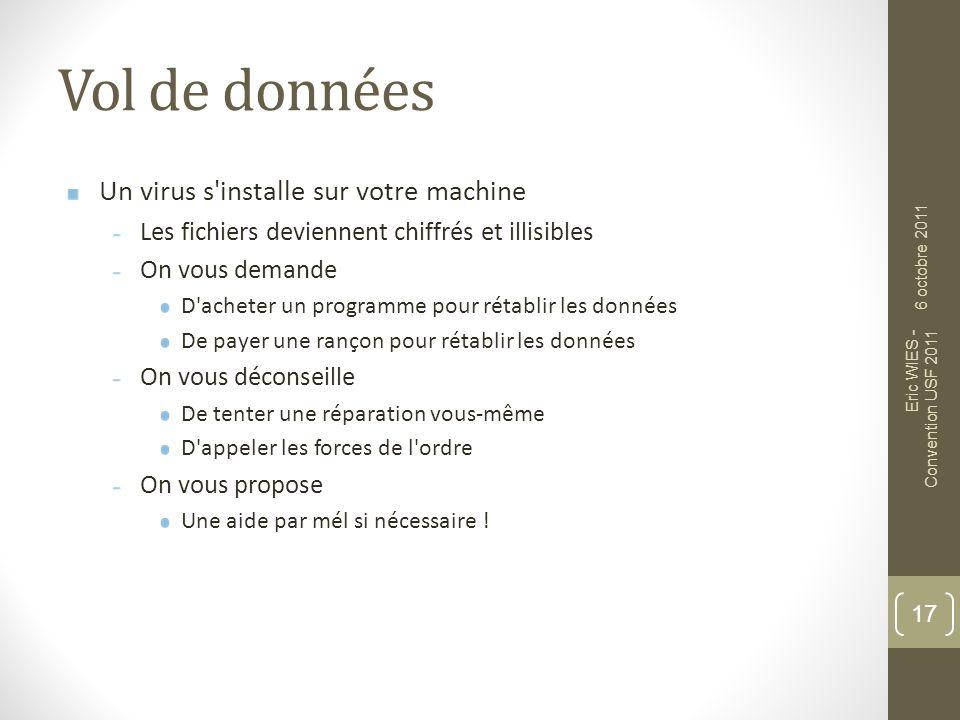 Vol de données Un virus s installe sur votre machine