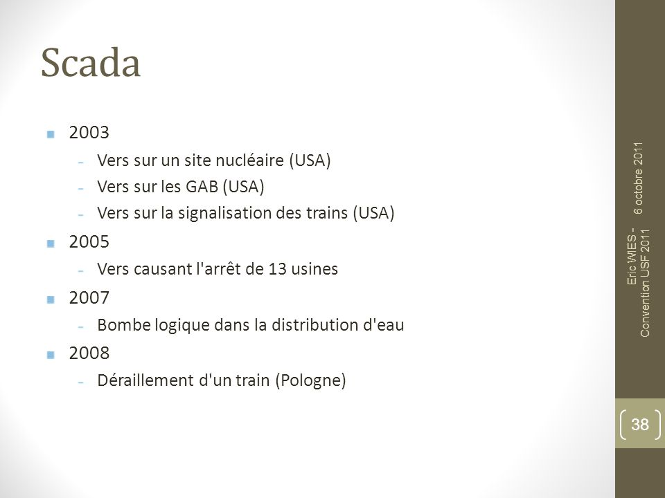 Scada 2003 2005 2007 2008 Vers sur un site nucléaire (USA)