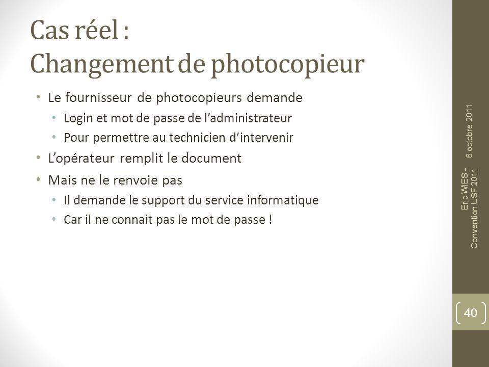 Cas réel : Changement de photocopieur