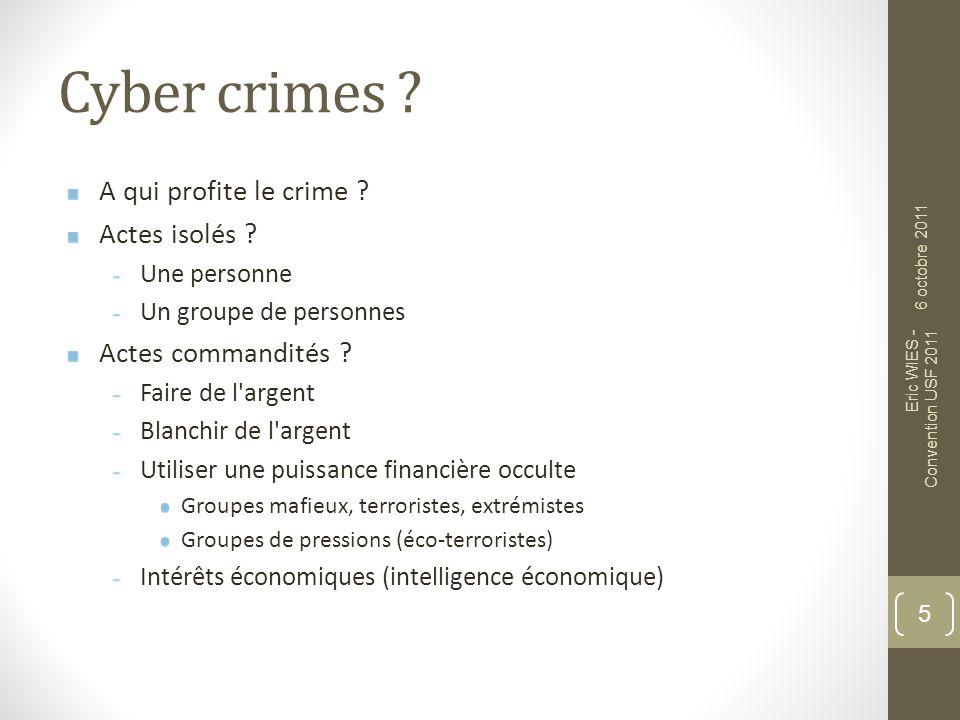 Cyber crimes A qui profite le crime Actes isolés