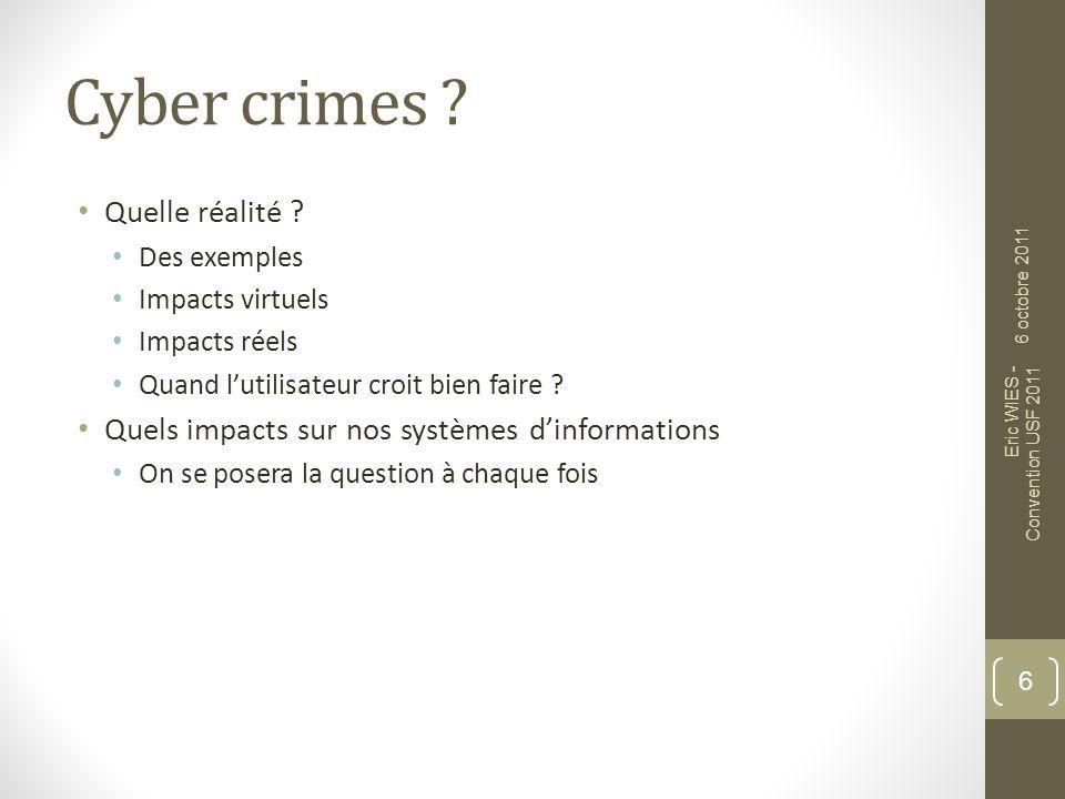 Cyber crimes Quelle réalité