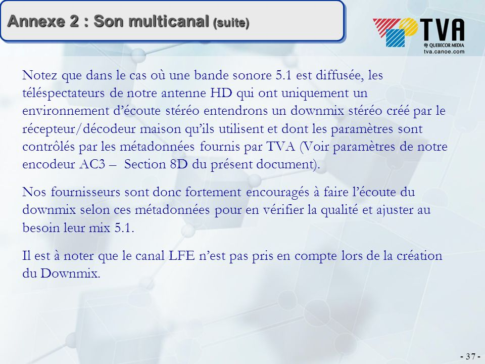 Annexe 2 : Son multicanal (suite)