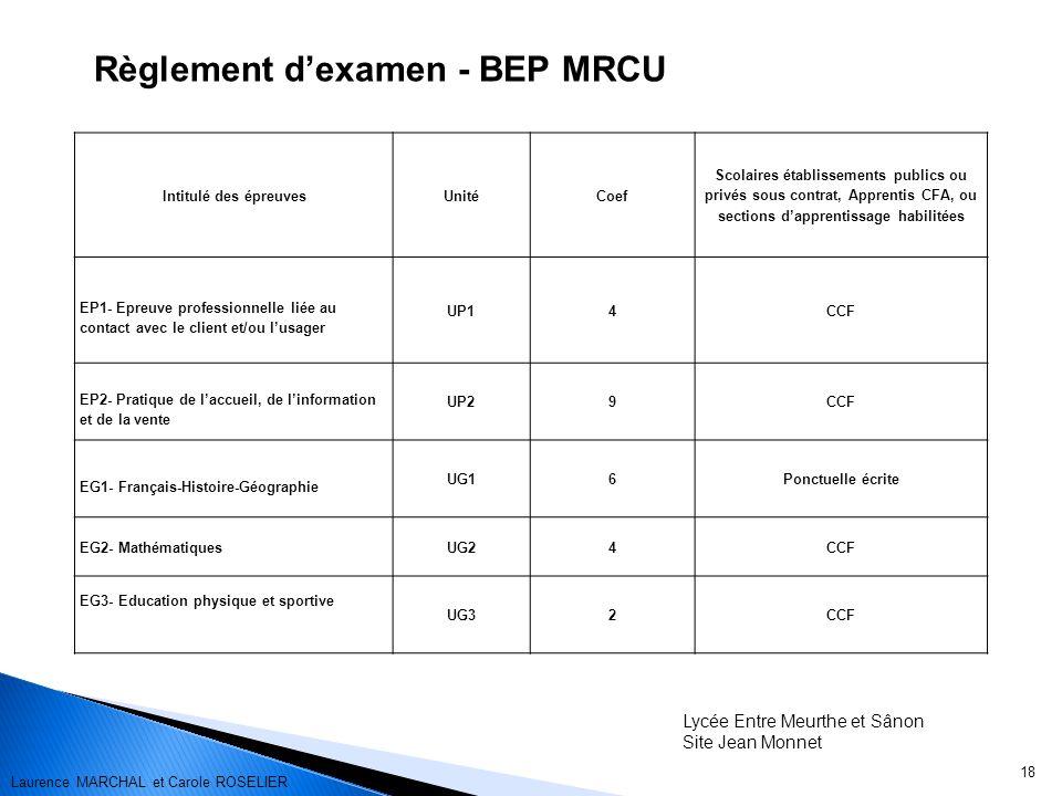 Règlement d'examen - BEP MRCU