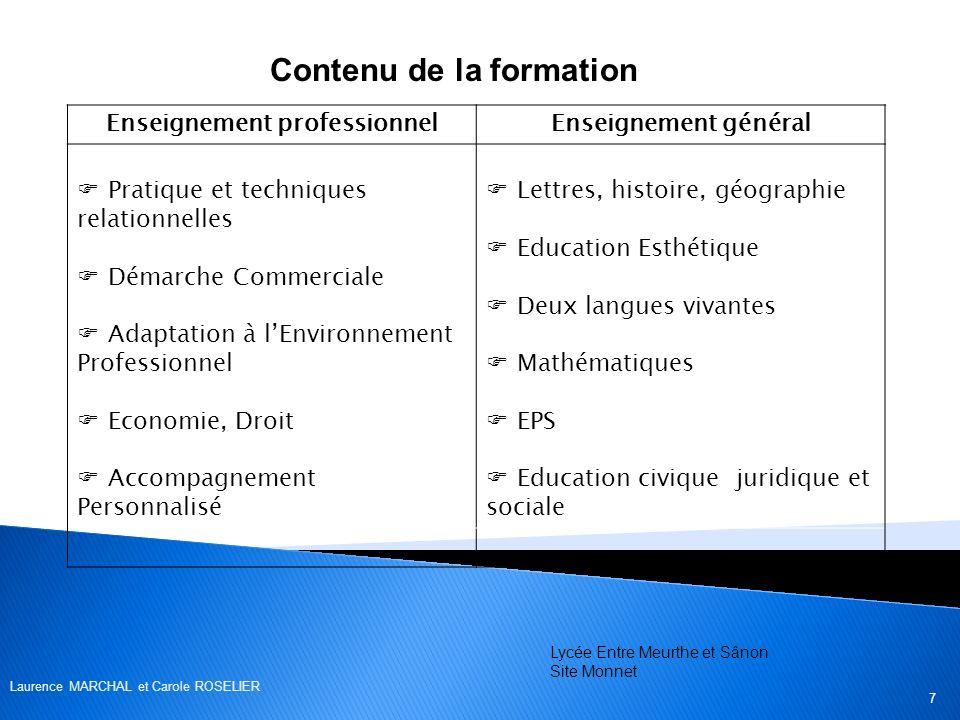 Contenu de la formation Enseignement professionnel