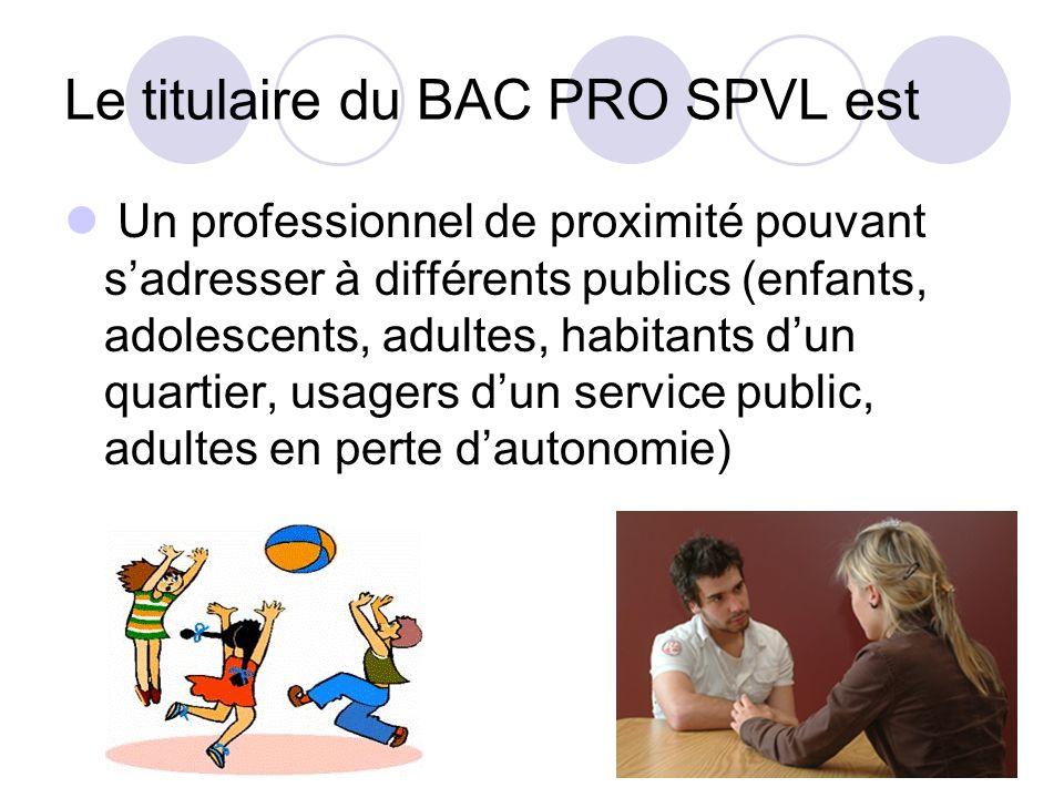 Le titulaire du BAC PRO SPVL est