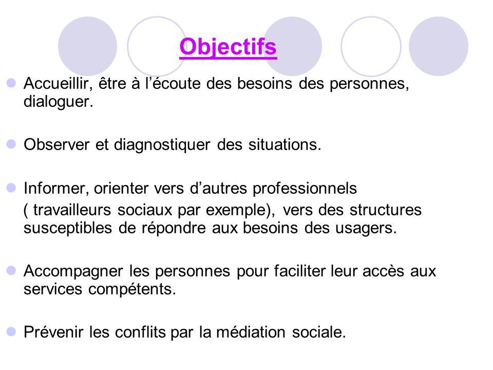 Objectifs Accueillir, être à l'écoute des besoins des personnes, dialoguer. Observer et diagnostiquer des situations.