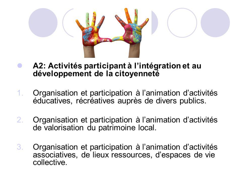 A2: Activités participant à l'intégration et au développement de la citoyenneté