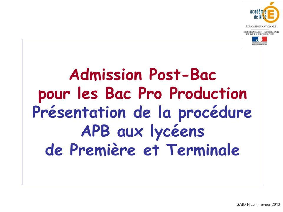 Admission Post-Bac pour les Bac Pro Production Présentation de la procédure APB aux lycéens de Première et Terminale