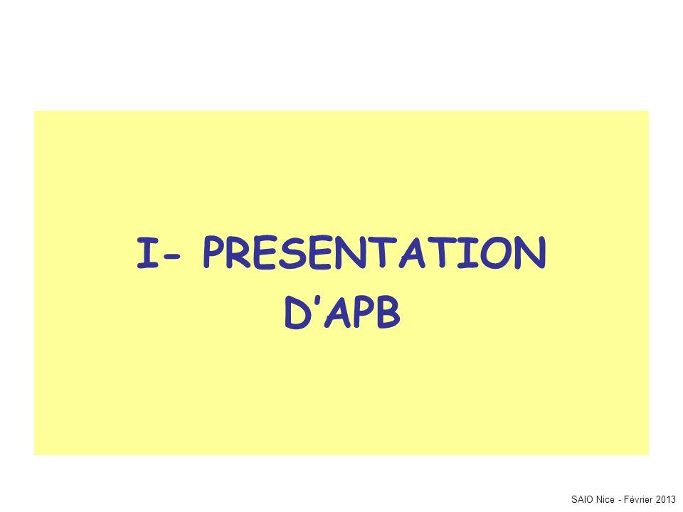I- PRESENTATION D'APB SAIO Nice - Février 2013