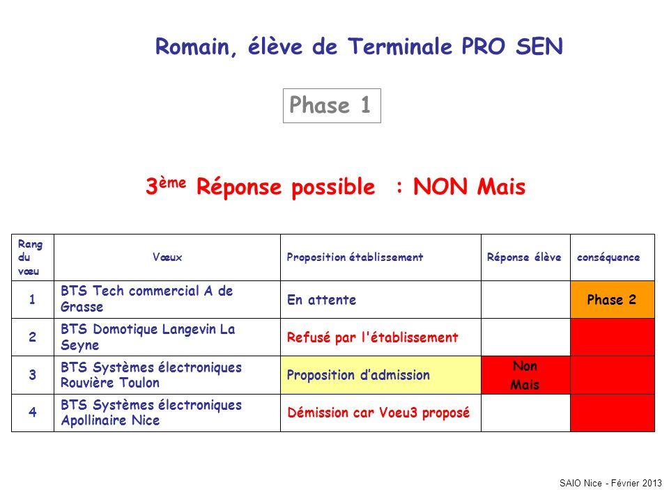 Romain, élève de Terminale PRO SEN 3ème Réponse possible : NON Mais