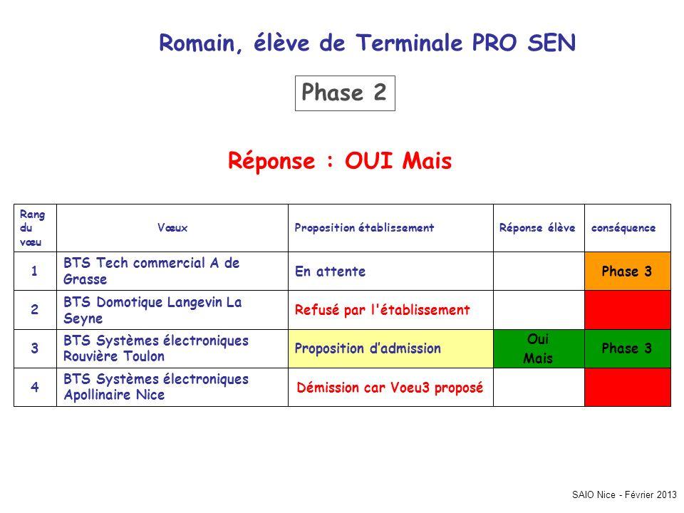 Romain, élève de Terminale PRO SEN Démission car Voeu3 proposé