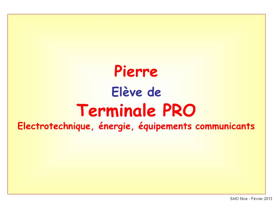 Pierre Elève de Terminale PRO Electrotechnique, énergie, équipements communicants