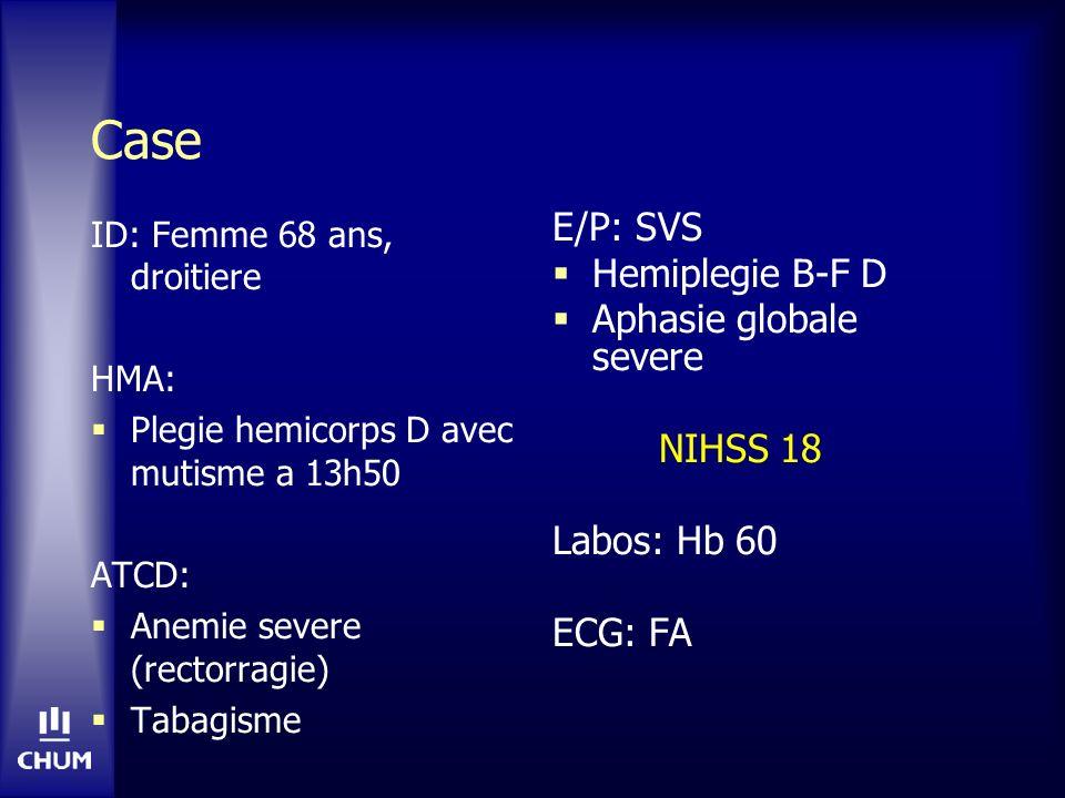 Case E/P: SVS Hemiplegie B-F D Aphasie globale severe NIHSS 18