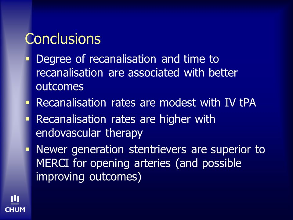Conclusions Degree of recanalisation and time to recanalisation are associated with better outcomes.