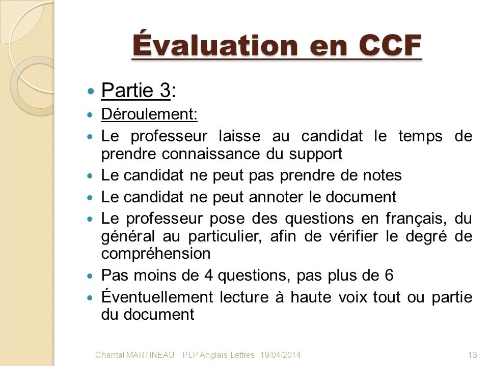 Évaluation en CCF Partie 3: Déroulement: