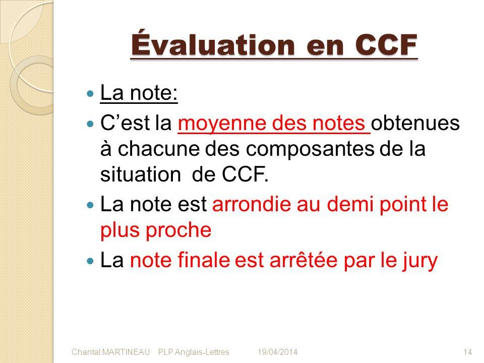 Évaluation en CCF La note:
