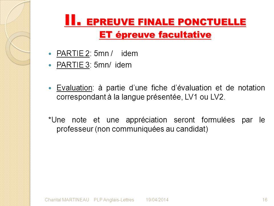 II. EPREUVE FINALE PONCTUELLE ET épreuve facultative