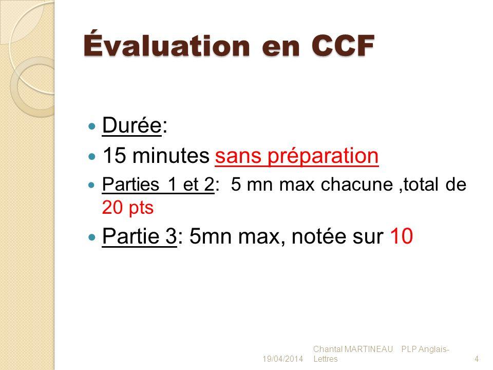 Évaluation en CCF Durée: 15 minutes sans préparation