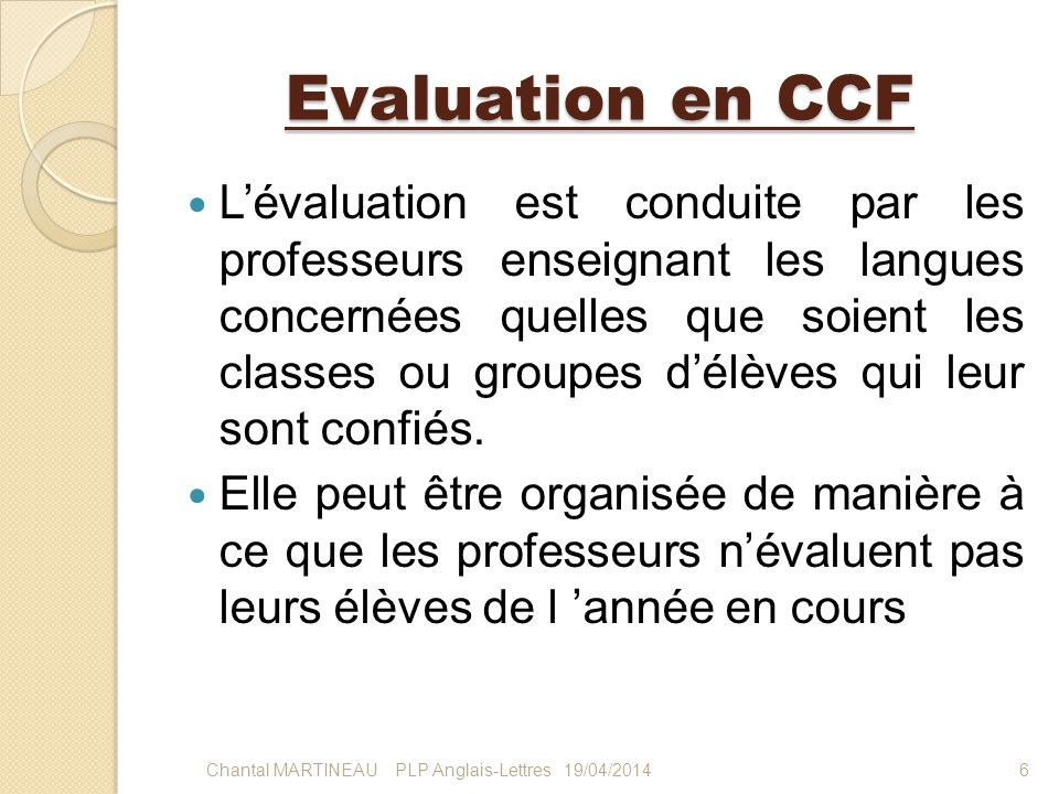 Evaluation en CCF