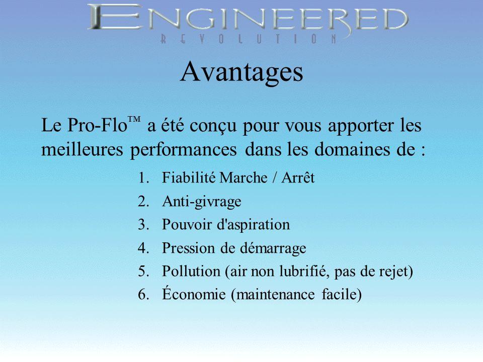 Avantages Le Pro-Flo™ a été conçu pour vous apporter les meilleures performances dans les domaines de :