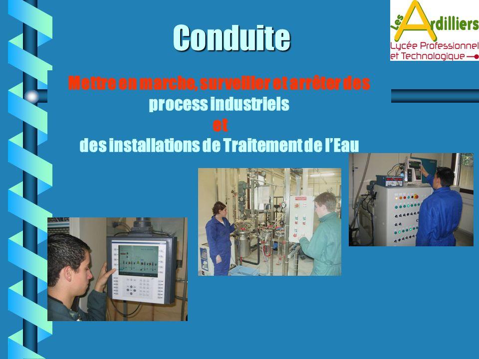 Conduite Mettre en marche, surveiller et arrêter des process industriels.