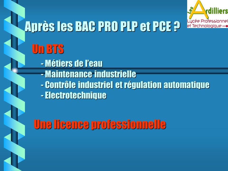 Après les BAC PRO PLP et PCE