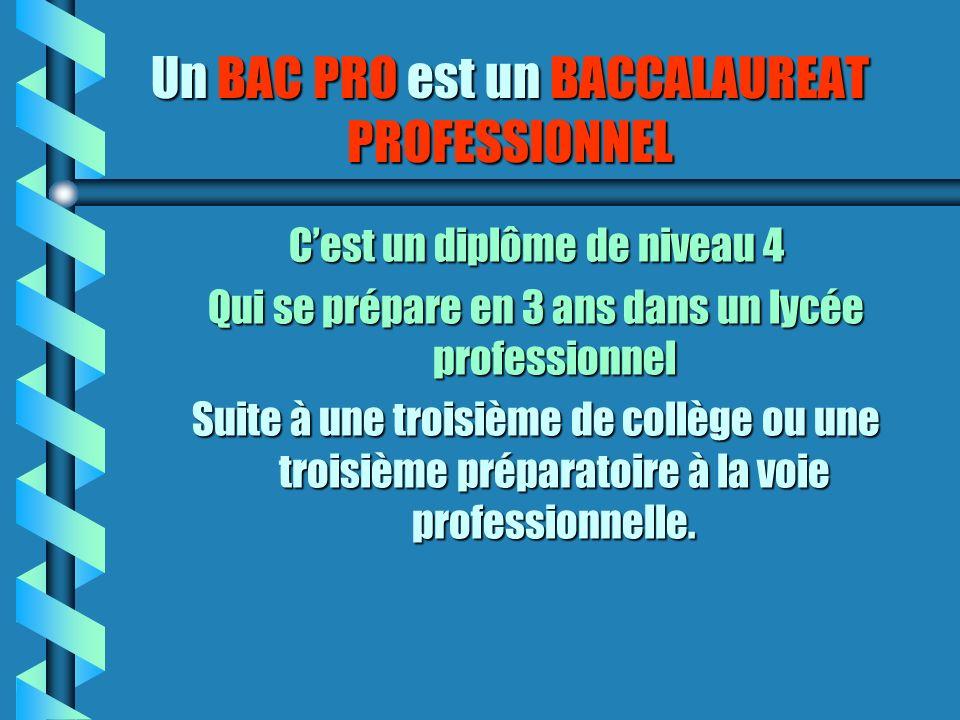 Un BAC PRO est un BACCALAUREAT PROFESSIONNEL