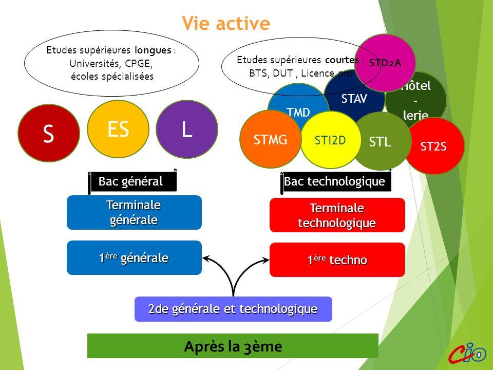 Choisir sa voie S ES L Vie active Après la 3ème STMG STL STAV Hôtel-