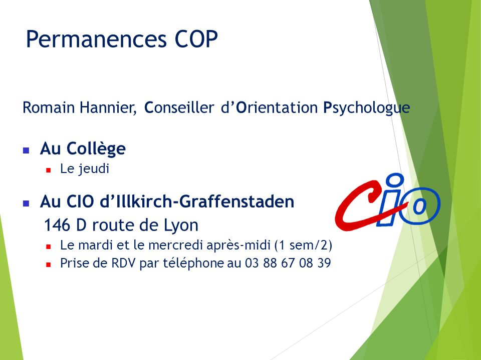 Permanences COP Au Collège Au CIO d'Illkirch-Graffenstaden
