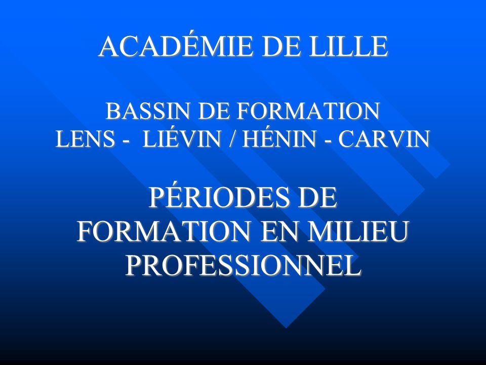 ACADÉMIE DE LILLE BASSIN DE FORMATION LENS - LIÉVIN / HÉNIN - CARVIN PÉRIODES DE FORMATION EN MILIEU PROFESSIONNEL