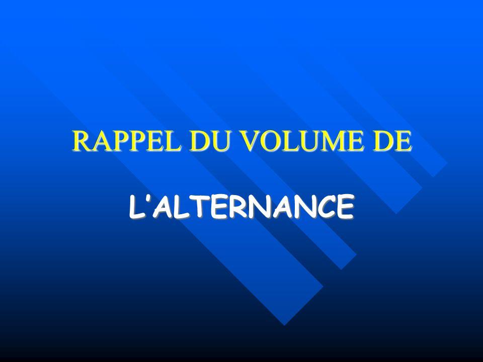 RAPPEL DU VOLUME DE L'ALTERNANCE