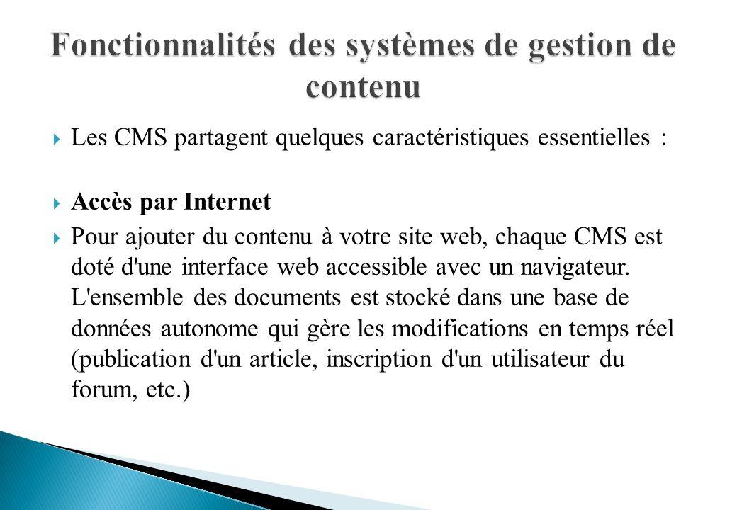 Fonctionnalités des systèmes de gestion de contenu