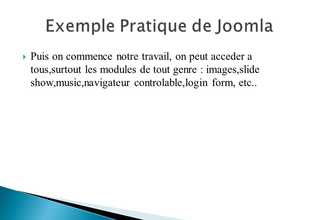 Exemple Pratique de Joomla