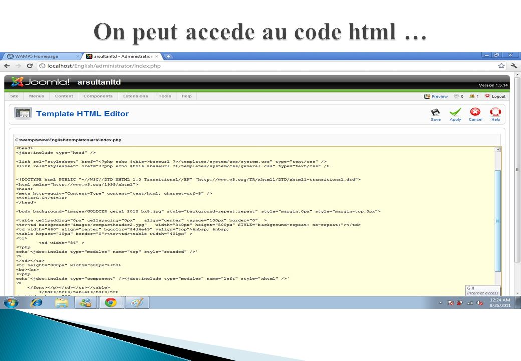 On peut accede au code html …