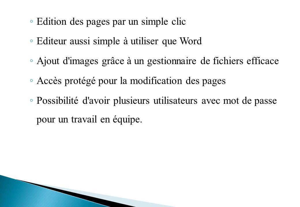 Edition des pages par un simple clic
