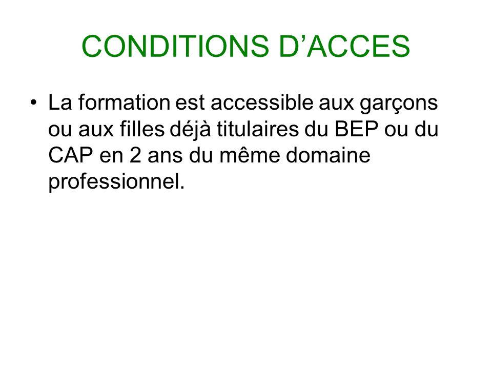 CONDITIONS D'ACCES La formation est accessible aux garçons ou aux filles déjà titulaires du BEP ou du CAP en 2 ans du même domaine professionnel.