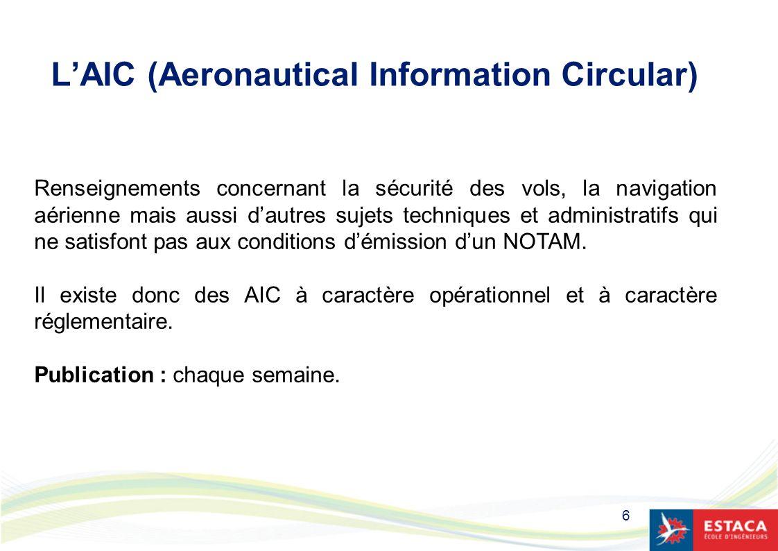 L'AIC (Aeronautical Information Circular)