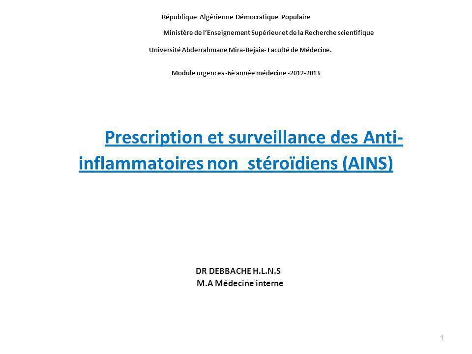 Prescription et surveillance des Anti-