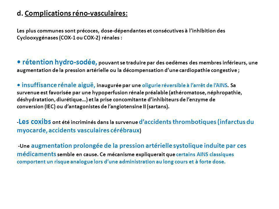 d. Complications réno-vasculaires: