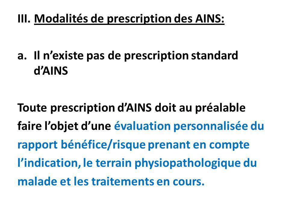 III. Modalités de prescription des AINS: