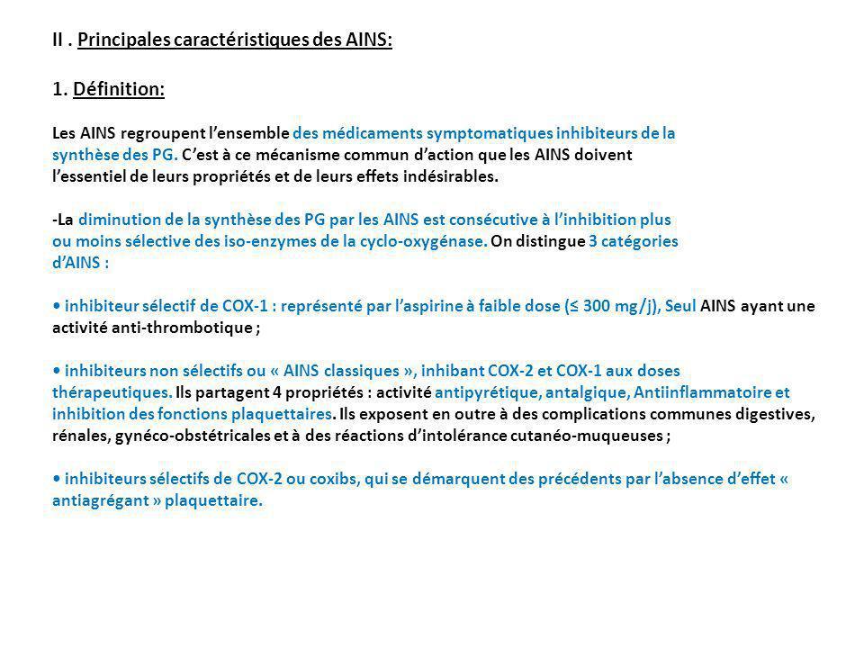 II . Principales caractéristiques des AINS: 1. Définition: