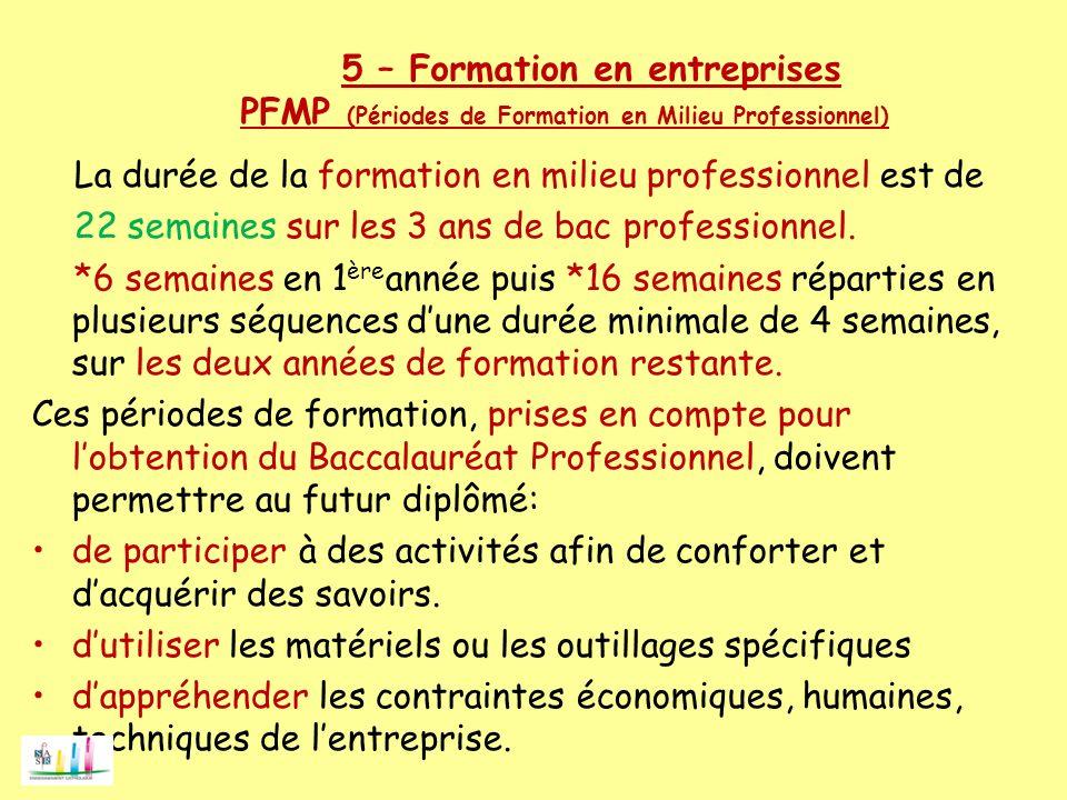 5 – Formation en entreprises