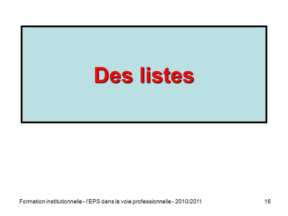 Des listes La rénovation de la voie professionnelle Rentrée 2009. 4 objectifs prioritaires : Réduire les sorties sans qualification.