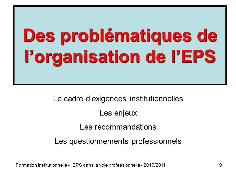 Des problématiques de l'organisation de l'EPS